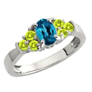 London Blue Topaz and Canary Diamond Sterling Silver Ring Jewelry