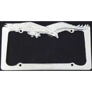 Flying Eagle Chrome License Plate Tag Frame Automotive