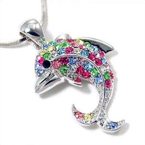 Colored Crystal Dolphin Pendant Necklace Fashion Jewelry Jewelry