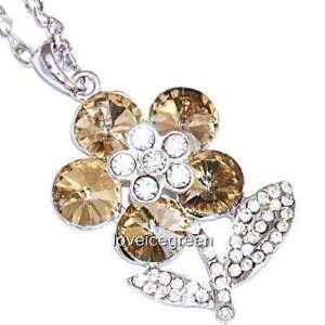 Crystal Glass Brown Flower Pendant Necklace 18kgp