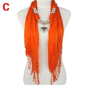 Orange Triangle Necklace Scarf with Heart Charm Pendant