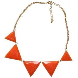 of Summer Bright Orange and Gold Triangle Medallions Chain Necklace