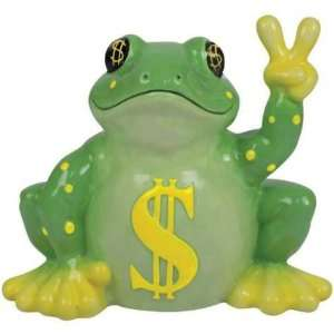 Color Of Money Peace Frog Coin Bank with Yellow Dollar Sign Symbols