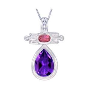 14K White Gold Pear and Oval Shaped Gemstone and Diamond Pendant Multi