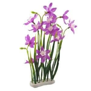 Tank Purple White Flower Green Leaf Plastic Plant Decor