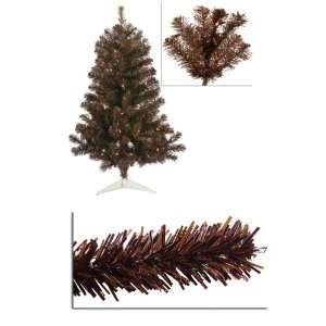 3 Pre Lit Mocha Brown Artificial Sparkling Christmas Tree