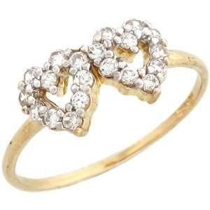 Gold Gorgeous Round Cut White CZ Double Heart Promise Ring Jewelry