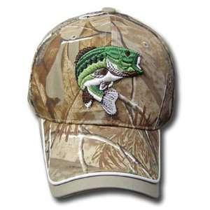 CAMOUFLAGE BASS FISH HAT CAP REAL TREE NEW ADJ