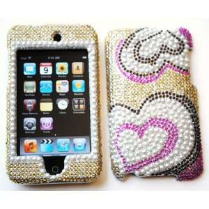 New Gold with Pink Multi Heart Sparkling Rhinestones Full
