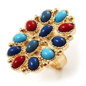 Oversized Multicoloure Oval Cocktail Ring (Gold Tone) Jewelry