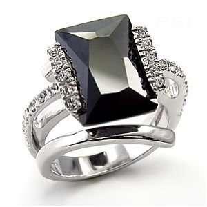 Emerald Cut Black CZ Cocktail Ring SZ 5 Jewelry