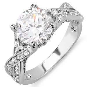 18K White Gold Plated Round CZ Cubic Zirconia Ladies Bridal Engagement