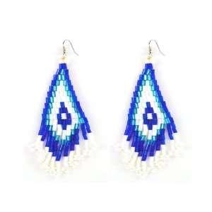 Handmade Nubian Chandelier Beaded Earrings, Serenity Jewelry