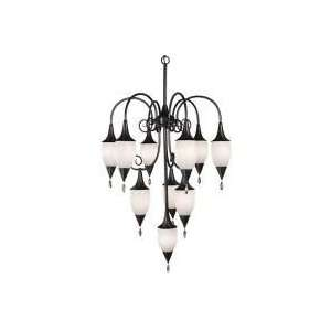 Chandelier in Mahogany Bronze Finish with Fossil Shell Glass   1150MB