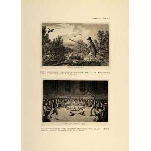 1924 English Duck Shooting Cockfight Cockpit 1797 Print