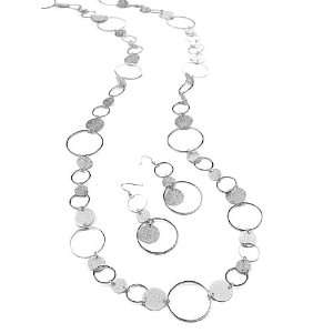 Silver Tone Circle Links Necklace Earring Fashion Jewelry Set Jewelry
