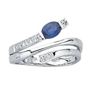 Gold   Diamond & Blue Sapphire   Snake Band Ring   Size 5 Jewelry