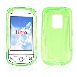 for Sprint HTC Hero Crystal Skin Case Clear LIME GREEN