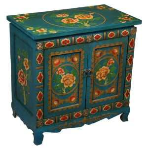 Tibetan Storage Cabinet / End Table W Peony Design Furniture & Decor
