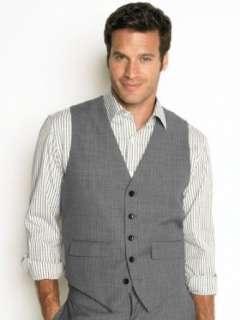 Republic Mens Gray Grey Herringbone Suit Vest  Clothing