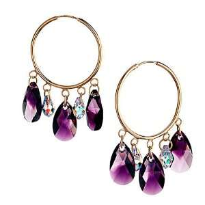 Hoop Dangle Light Amethyst Purple Swarovski Crystal Drops Earrings