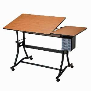 CraftMaster III SplitTop Drafting Table Cherry Woodgrain
