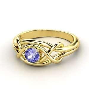 Infinity Knot Ring, Round Tanzanite 14K Yellow Gold Ring Jewelry