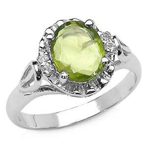 85 Carat Genuine Peridot & White Topaz Sterling Silver Ring Jewelry