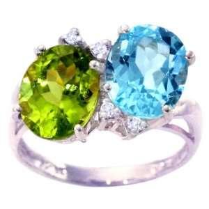 Oval Gemstone Ring with Diamonds Multi Peridot Sky Blue Topaz, size5.5