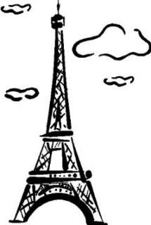 EIFFEL TOWER WALL ART STICKERS DECALS GRAPHICS, WHITE