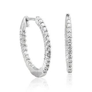 com 14k White Gold Oval Pave Diamond Hoop Earrings (1 cttw, H I Color
