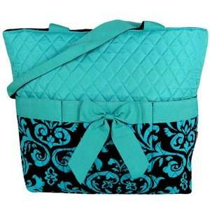 Purse Tote Book Messenger Diaper Bag in Black and Aqua Turquoise Blue