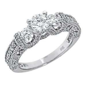 Gold 3 Three Stone Round Brilliant Cut Diamond Engagement Ring Vintage
