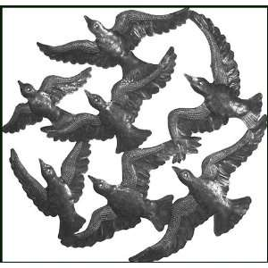 Flying Birds Wall Hanging   Recycled Steel Drum Art   24
