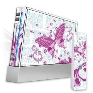 Skins for Nintendo Wii   Pink Butterfly Design Folie Electronics