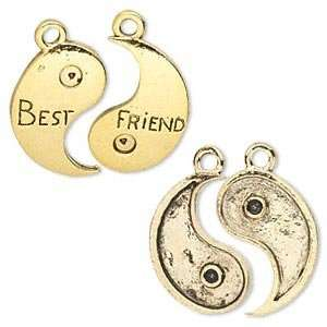 #8703 Charm, antiqued gold pewter, yin yang/Best Friends