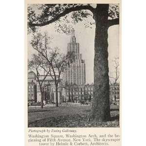 1928 Print Washington Square Arch Skyscraper Tower NYC