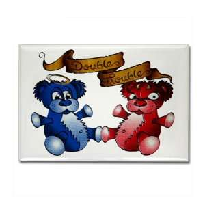 Rectangle Magnet Double Trouble Bears Angel and Devil Everything Else