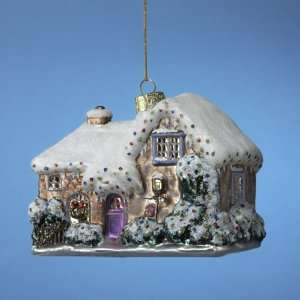 Pack of 6 Thomas Kinkade Cottage House Blown Glass Christmas Ornaments