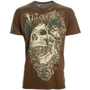 Silver Star Brown Screaming Skull Premium T shirt Sports