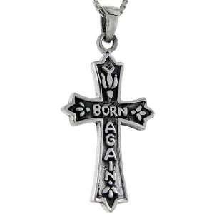 925 Sterling Silver Born Again Cross Pendant (w/ 18 Silver Chain), 1
