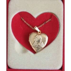 Little Orphan Annie Heart Locket Pendant Necklace   Approx. 7/8 LARGE
