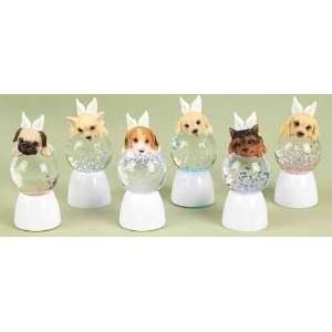 of 12 LED Lighted Angel Puppy Christmas Glitterdome Snow Globes 3.75