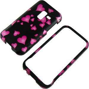 Pink Hearts Black Protector Case for Samsung Conquer 4G