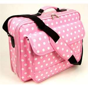 17 Pink Synthetic Leather with White Polka Dots Laptop Computer Case