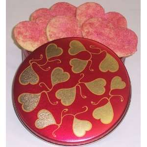 Cakes 1 lb. Red and Pink Sugar Valentine Heart Cookies in a Heart Tin