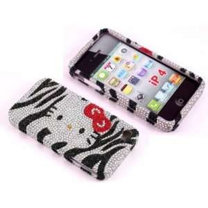 Smile Case Hello Kitty Zebra Design Bling Rhinstone Crystal Jeweled