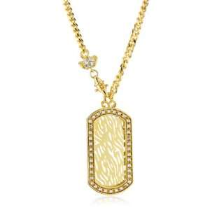 Designs Summer Breeze Gold Colored Crystal Dog Tag Necklace Jewelry