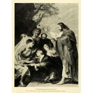 1895 Print Jesus Christ Raising Dead Lazarus Peter Rubens