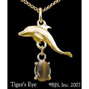 Dolphin Gemstone Necklace, 14k Yellow Gold, Tigers Eye set gemstone